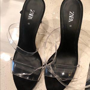 Zara strappy clear heels.